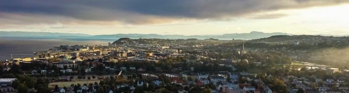 Dramatic skies over Trondheim Norway herald the arrival of autumn