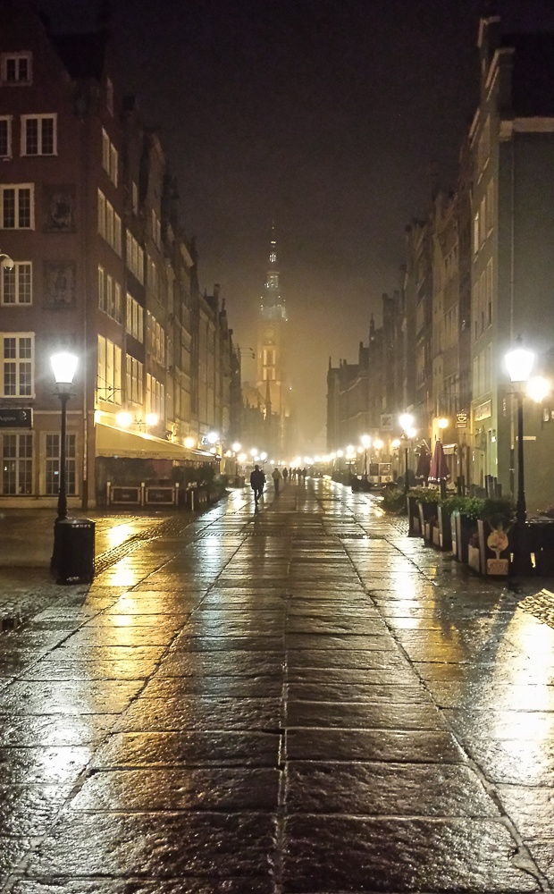 Rainy night in the old town, Gdansk, Poland