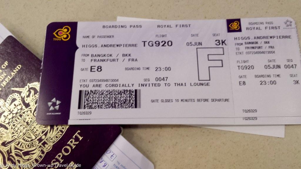 Thai First Class A380 BKK Boarding pass