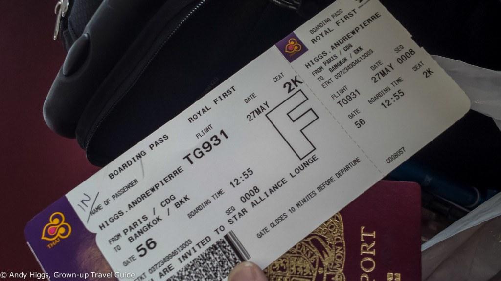 Thai First Class A380 Boarding pass