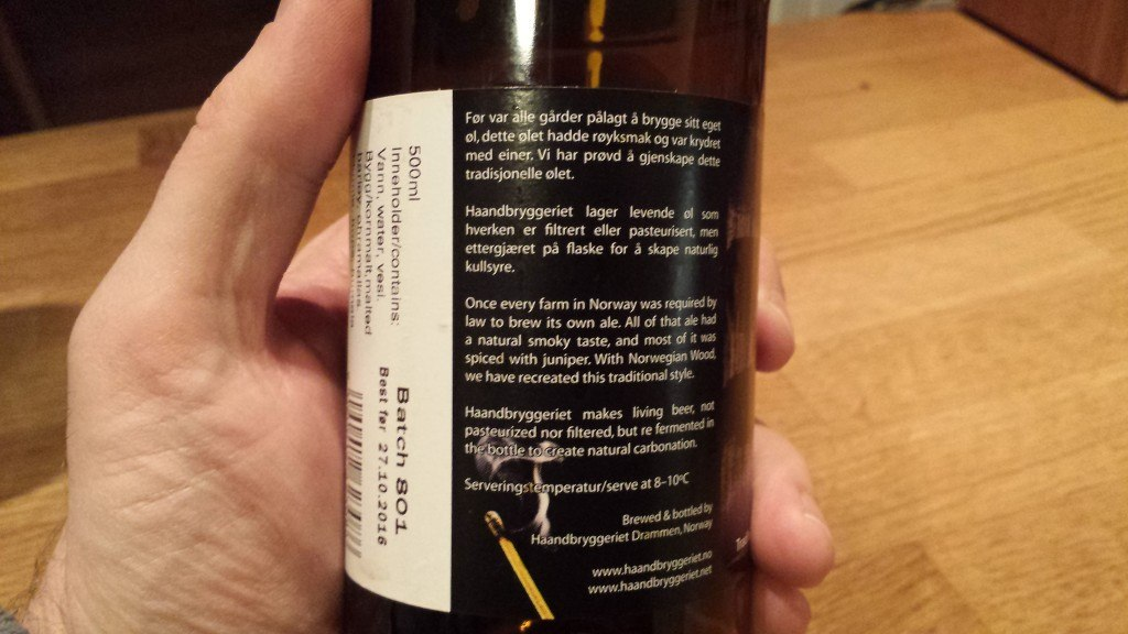 Grown-up Travel Guide Beer Diary Day 39: Norwegian Wood smoked ale by Haandryggeriet, Drammen, Norway - back
