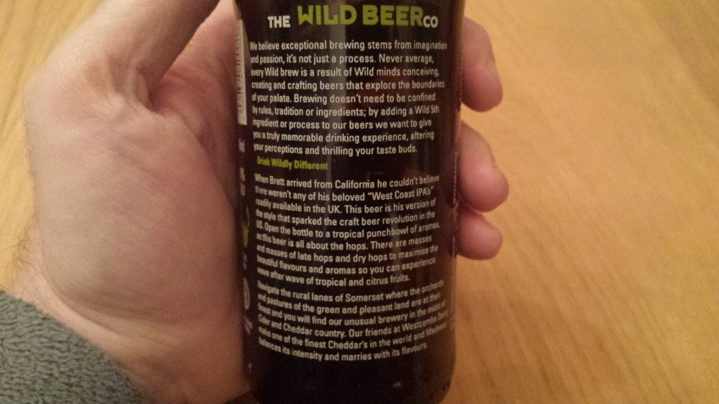 Grown-up Travel Guide Beer Diary Day 42: Madness IPA from The Wild Beer Co, Somerset, England - back