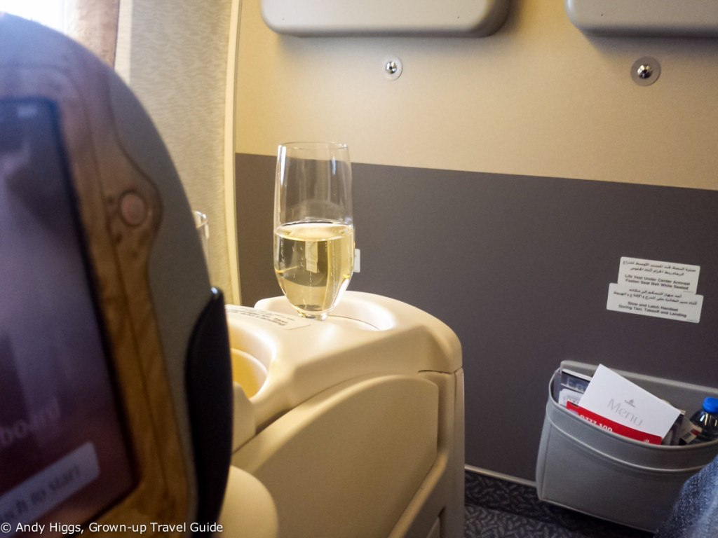 Bubbly before takeoff - Emirates 777-300ER Business Class