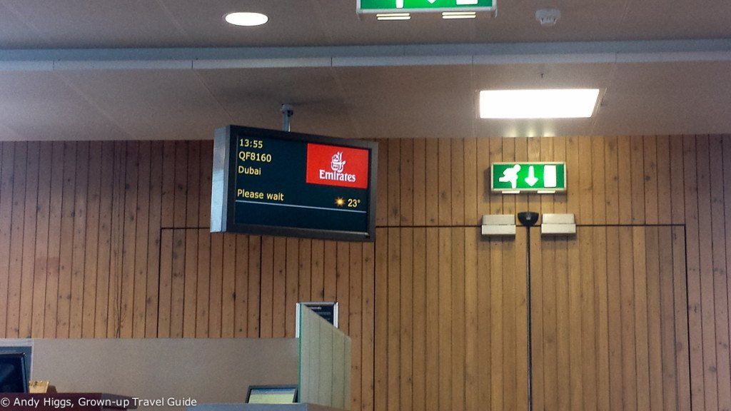 Gate sign and temp - Emirates 777-300ER Business Class
