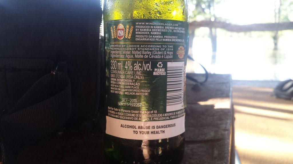 Grown-up Travel Guide Beer Diary Day 109: Windhoek Lager from Namibia Breweries Ltd of Windhoek, Namibia - back