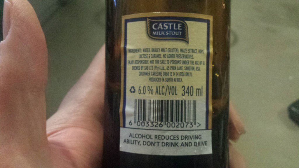 Grown-up Travel Guide Beer Diary Day 109: Castle Milk Stout from SAB Ltd of Sandton, South Africa - back