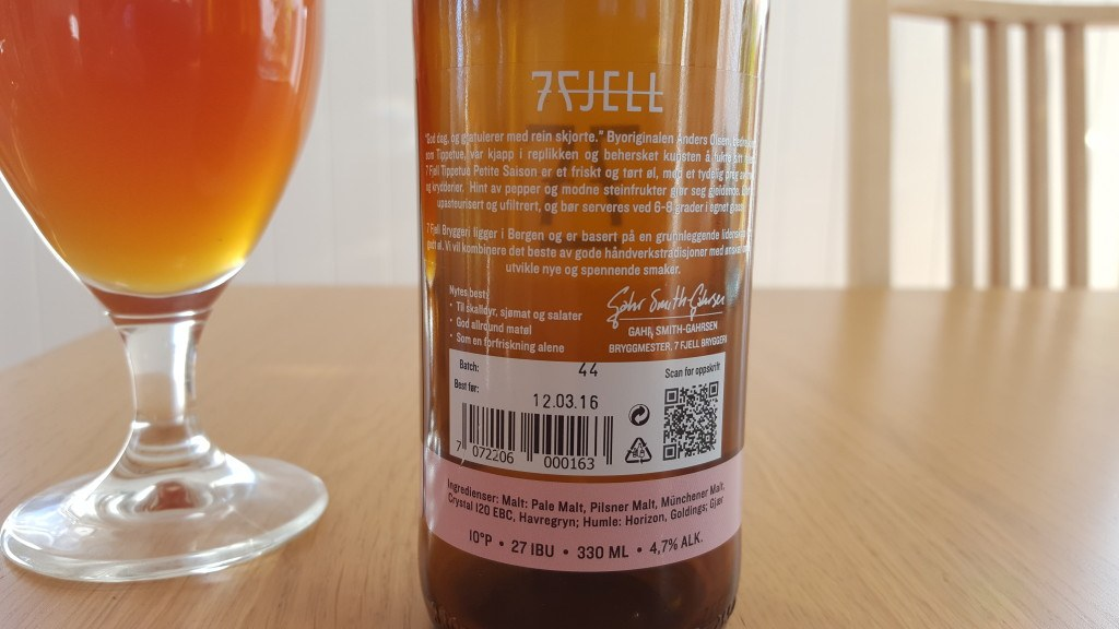 Grown-up Travel Guide Beer Diary - Day 227: Tippetue Petite Saison from 7 Fjell Bryggeri of Bergen, Norway