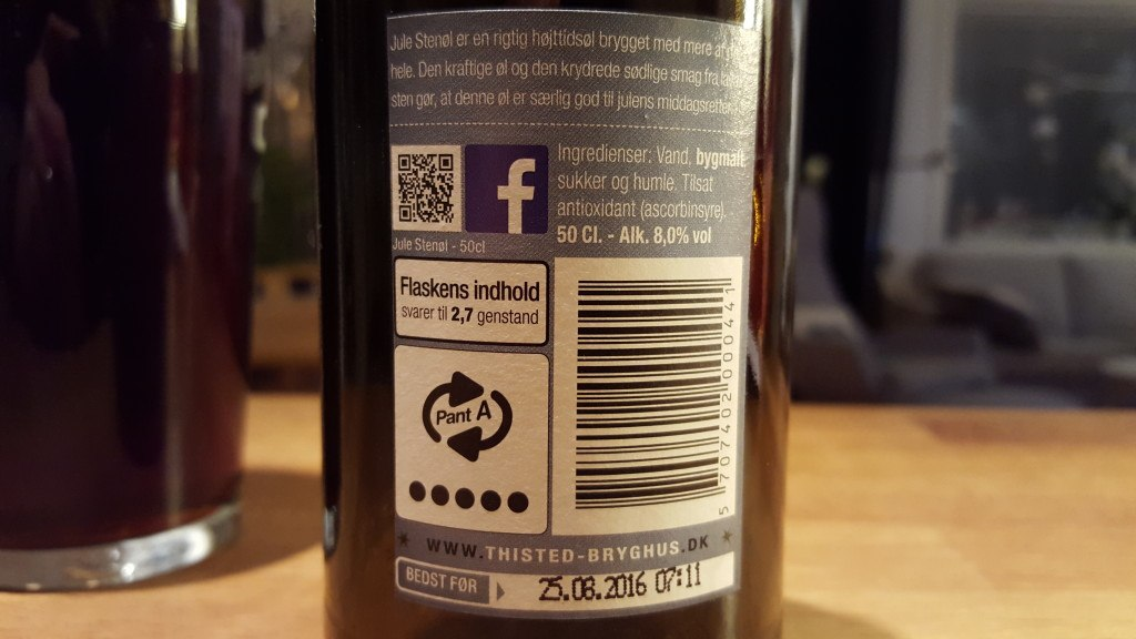 Grown-up Travel Guide Beer Diary - Day 350/Beer Advent Calendar Day 16: Jule Stenøl from Thisted Bryghus of Thisted, Denmark
