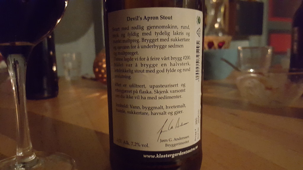 Grown-up Travel Guide Beer Diary - Number 398: Devil's Apron from Klostergården of Tautra, Norway