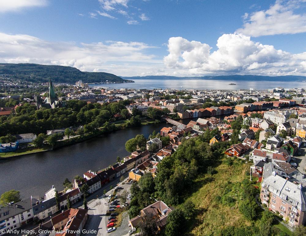 Gamle Bybro fra luftan, Trondheim