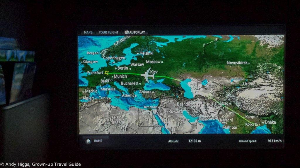Thai First Class A380 BKK to Frankfurt map