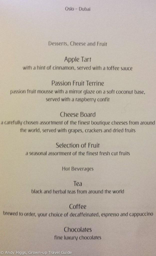 Emirates Business Class Dessert menu - Emirates 777-300ER Business Class