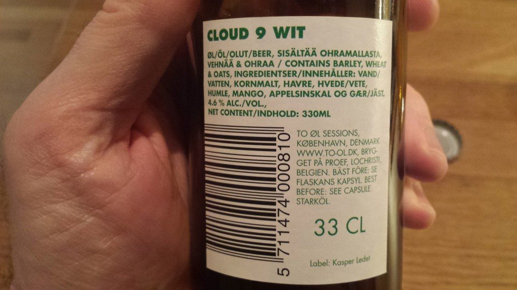 Grown-up Travel Guide Beer Diary Day 71: Cloud 9 Wit from To Øl Sessions, Copenhagen, Denmark - back