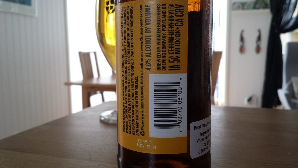 Grown-up Travel Guide Beer Diary - Day 121: Omission Gluten-free Lager from Widmer Brothers of Portland, USA - back
