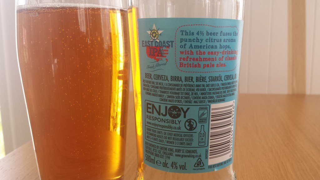 Grown-up Travel Guide Beer Diary - Day 175: East Coast IPA from Greene King of Bury St. Edmunds, England