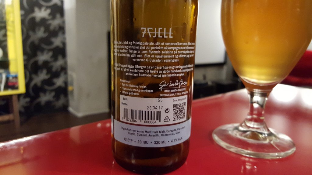 Grown-up Travel Guide Beer Diary - Day 233: Sommer (summer) Pale Ale from 7 Fjell Bryggeri of Bergen, Norway