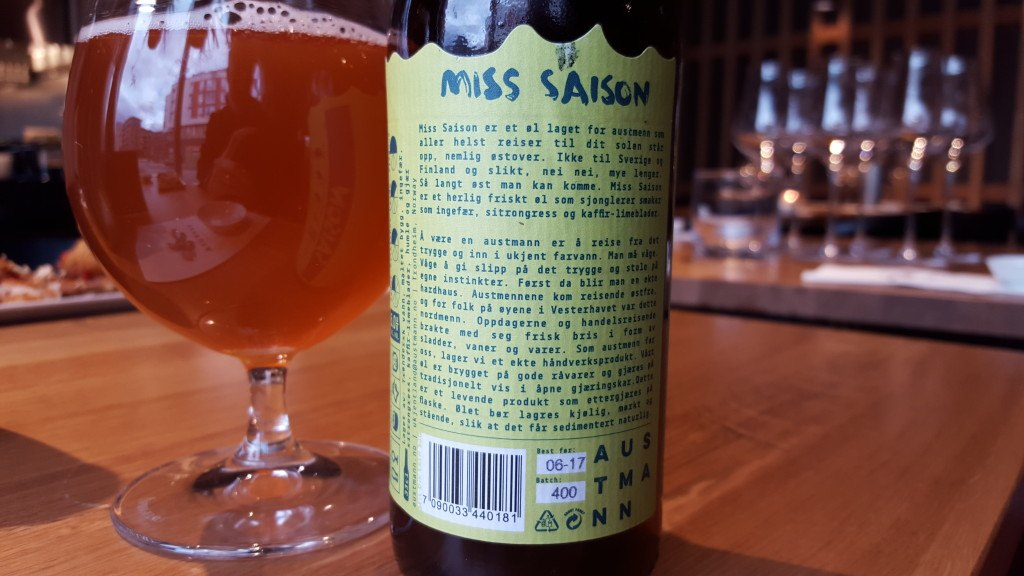 Grown-up Travel Guide Beer Diary - Day 265: Miss Saison from Austmann Bryggeri of Trondheim, Norway