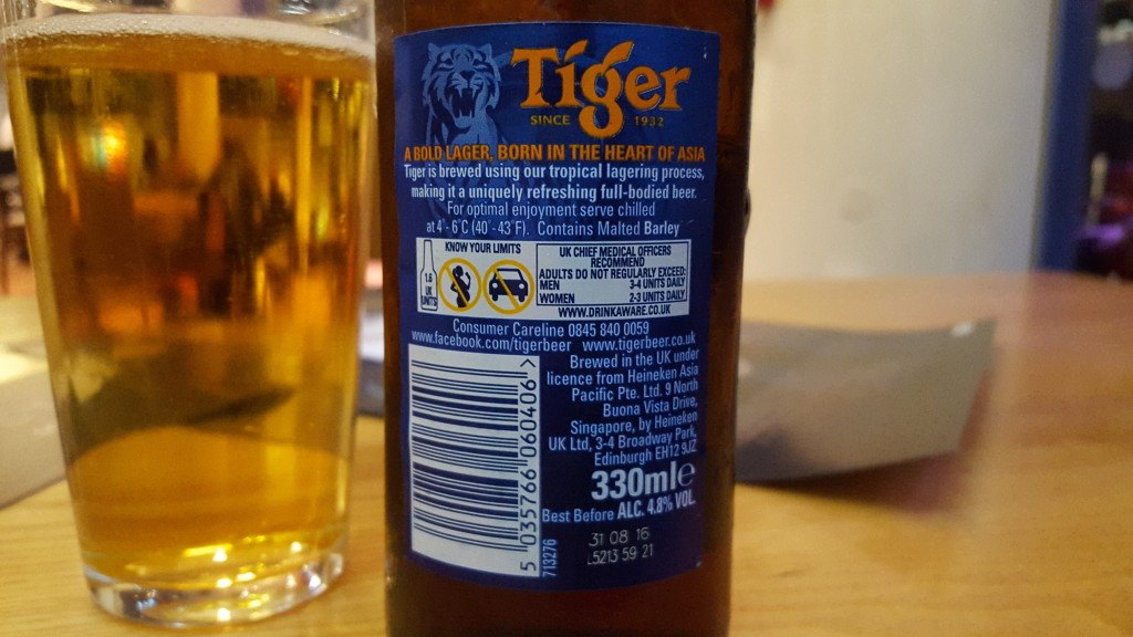 Grown-up Travel Guide Beer Diary - Day 310: Tiger from Heineken Asia Pacific of Edinburgh, Scotland
