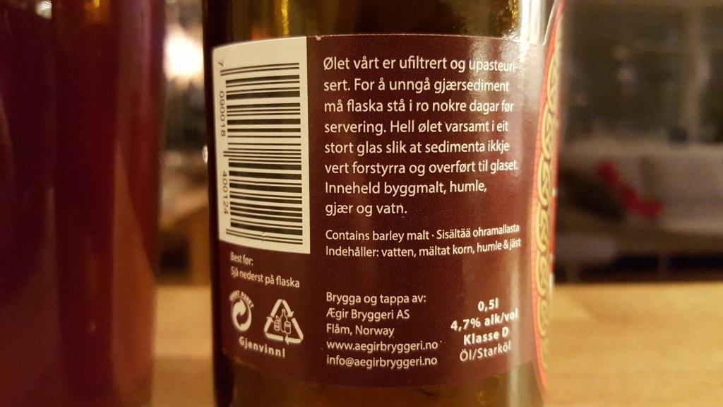 Grown-up Travel Guide Beer Diary - Day 335/Beer Advent Calendar Day 1: Julebrygg from Ægir Bryggeri of Flåm, Norway