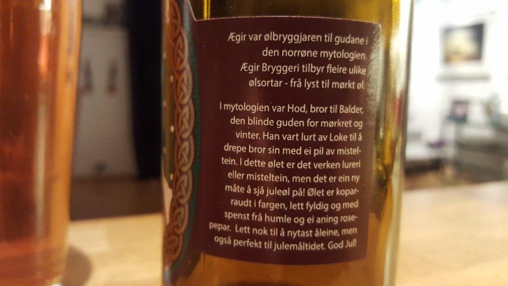 Grown-up Travel Guide Beer Diary - Day 351/Beer Advent Calendar Day 17: Hod Julebrygg from Ægir Bryggeri of Flåm, Norway
