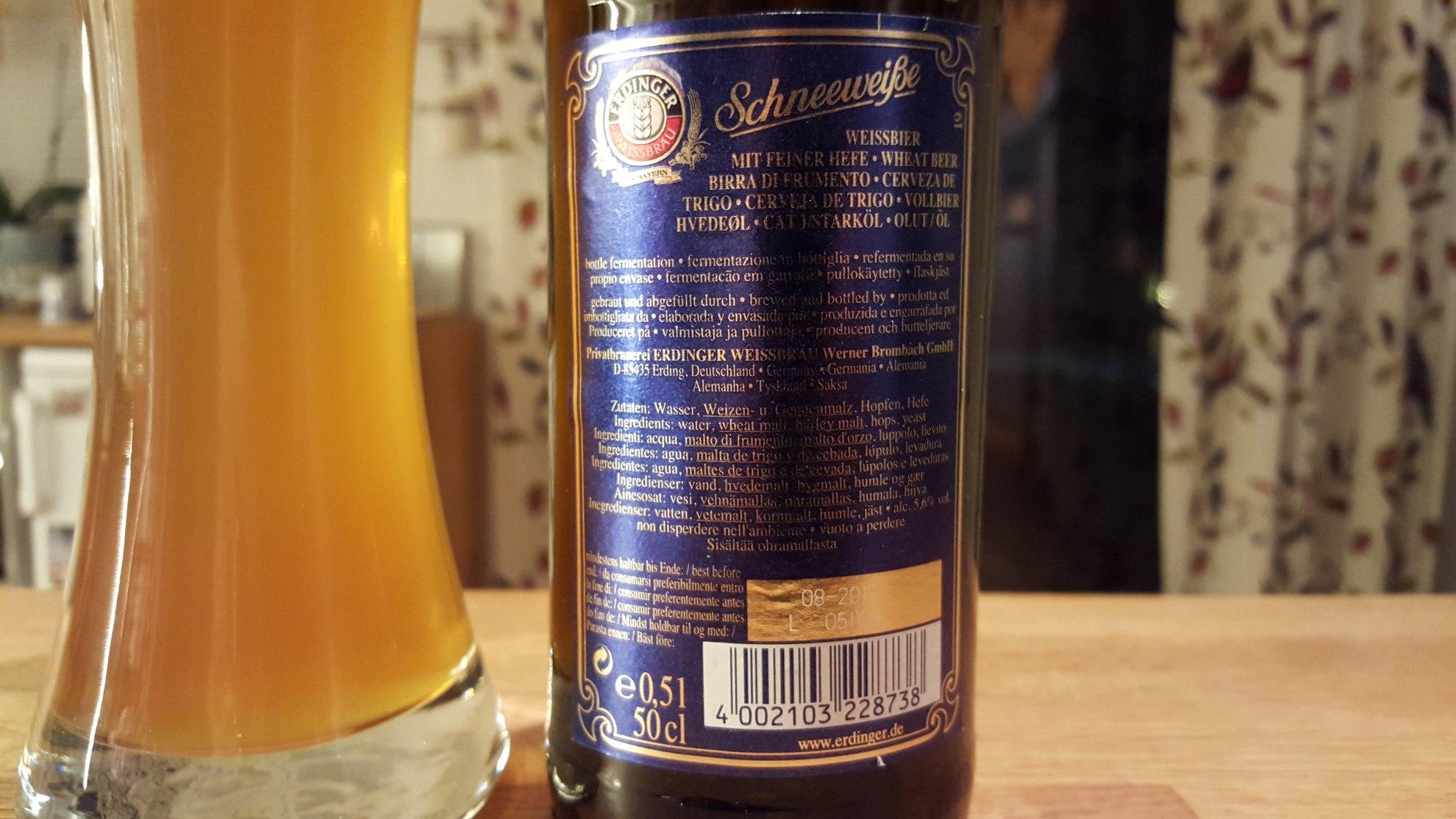 Grown-up Travel Guide Beer Diary - Day 355/Beer Advent Calendar Day 21: Schneeweisse from Erdinger Weissbrau of Erding, Germay
