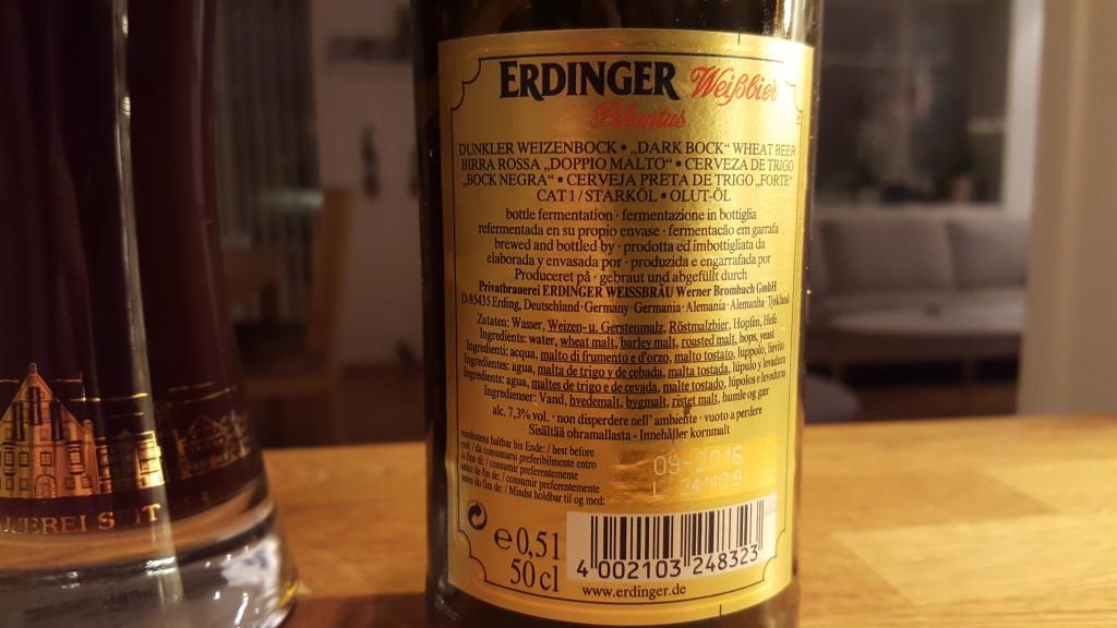 Grown-up Travel Guide Beer Diary - Number 397: Erdinger Pikantus from Erdinger Weissbrau of Erding, Germany