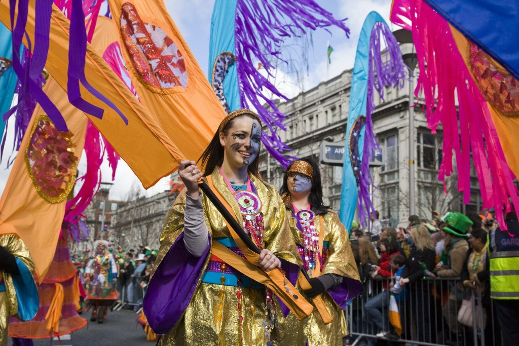 Colourful perfomers pass O'Connell Street in the St. Patrick's Festival parade